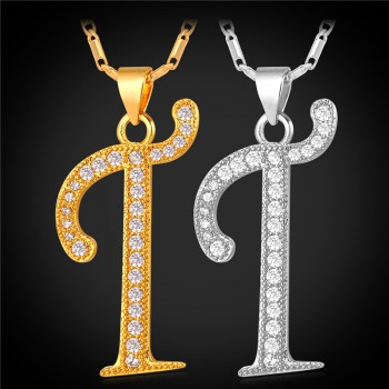 Make a style statement with alphabet pendant hung on initial pendant necklace