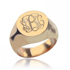 CIrcle Designs Signet Monogram Initial Ring Rose Gold