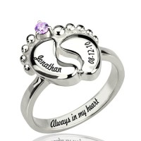 Engraved Baby Feet Ring with Birthstone Sterling Silver