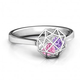 Personalised Diamond Cage Ring with Encased Heart Stones