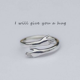 Personalised Sterling Silver Two Hands Warm Hug Ring