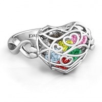 Encased in Love Caged Hearts Ring with Infinity Band