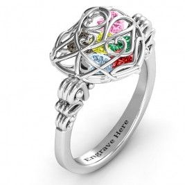 Encased in Love Caged Hearts Ring with Butterfly Wings Band