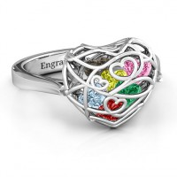 Encased in Love Caged Hearts Ring with Ski Tip Band