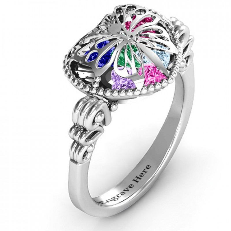 Butterfly Caged Hearts Ring With Butterfly Wings Band
