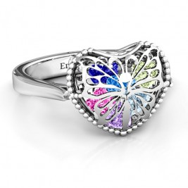 Butterfly Caged Hearts Ring with Ski Tip Band