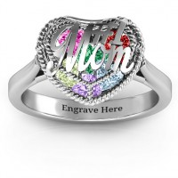 #1 Mom Caged Hearts Ring with Ski Tip Band