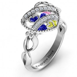 Sparkling Hearts Caged Hearts Ring with Infinity Band