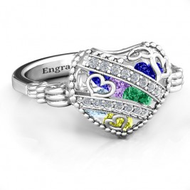 Sparkling Diamond Hearts Caged Hearts Ring with Butterfly Wings Band