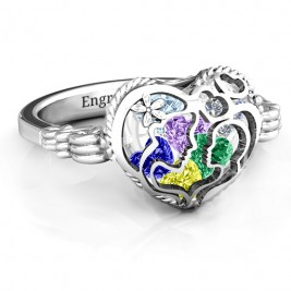 Mother and Child Caged Hearts Ring with Butterfly Wings Band