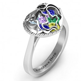 Mother and Child Caged Hearts Ring with Ski Tip Band