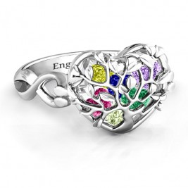 Family Tree Caged Hearts Ring with Infinity Band