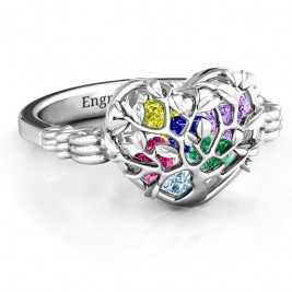 Family Tree Caged Hearts Ring with Butterfly Wings Band