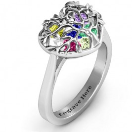 Family Tree Caged Hearts Ring with Ski Tip Band