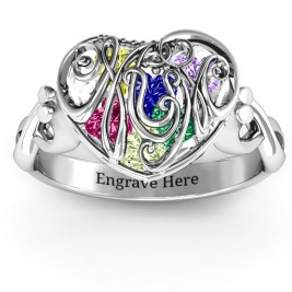 #1 Mom Caged Hearts Ring with Infinity Band