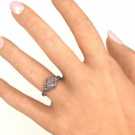 2016 Petite Caged Hearts Ring with Infinity Band