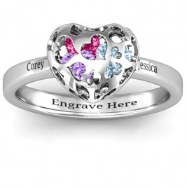 Heart Cut-out Petite Caged Hearts Ring with Classic with Engravings Band