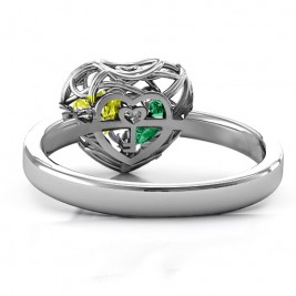 Encased in Love Petite Caged Hearts Ring with Classic Band