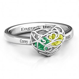 Encased in Love Petite Caged Hearts Ring with Classic with Engravings Band