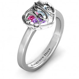 2015 Petite Caged Hearts Ring with Classic with Engravings Band