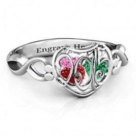 2015 Petite Caged Hearts Ring with Infinity Band