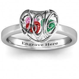 2016 Petite Caged Hearts Ring with Classic with Engravings Band