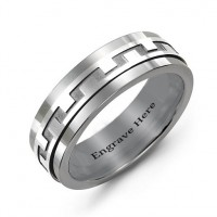 Sterling Silver Mens Detailed Modern Tungsten Band Ring