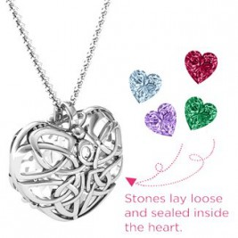 Sterling Silver Celtic Love Knot Trinity Knot Cage Heart Necklace