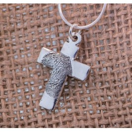 Cross FingerPrint Sterling Silver Necklace