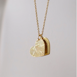 FingerPrint Heart Necklace In Sterling Silver