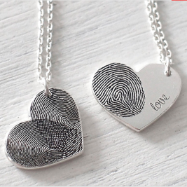 FingerPrint Heart Necklace In Sterling Silver With Signature