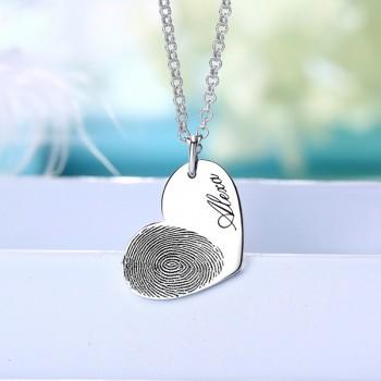 FingerPrint Heart Necklace In Sterling Silver