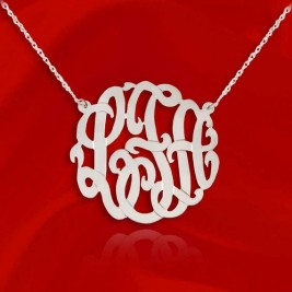 Monogram Necklace - Initial necklace 1.25 inch Sterling Silver Personalized Monogram - Handcrafted Custom Large Monogram Necklace