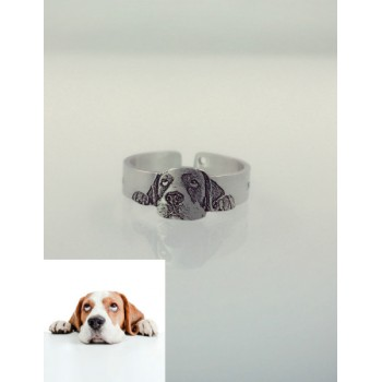 Pet Dog Cat Photo Engraved Ring With Free Sterling Silver Necklace · Pet Memorial Ring · Personalized Pet Remembrance