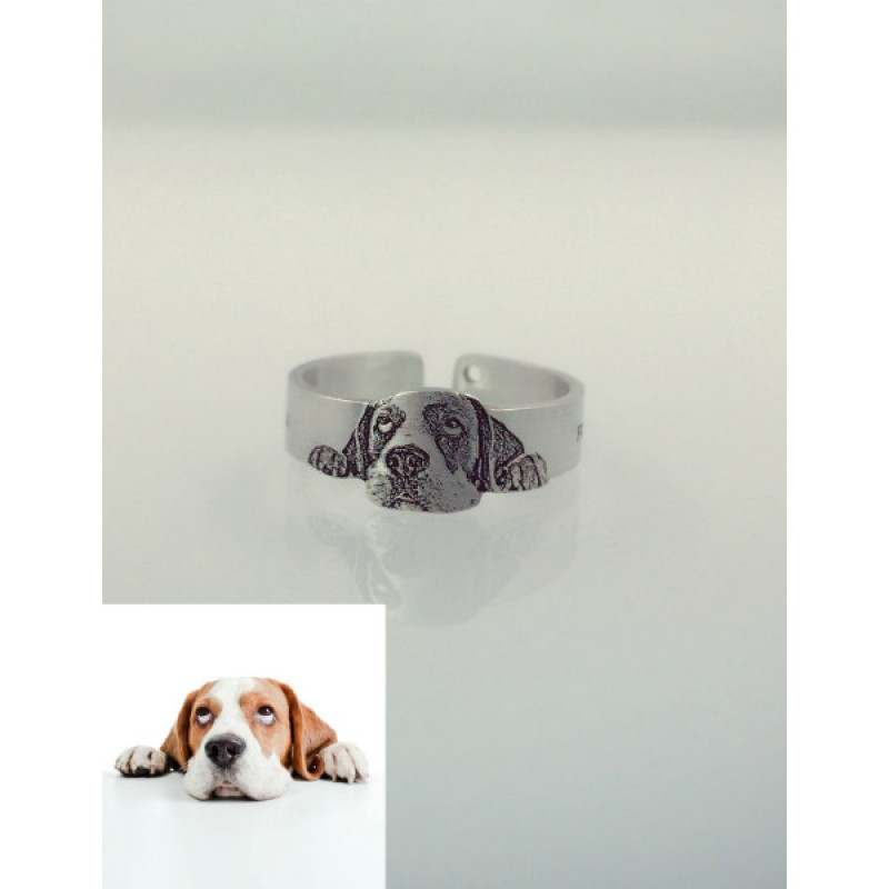Pet Dog Cat Photo Engraved Ring With Free Sterling Silver Necklace ...