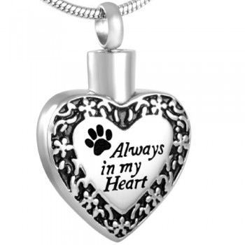 Pet Memorial Urn Pendant - Always in my Heart Pet Paw Cremation Necklace