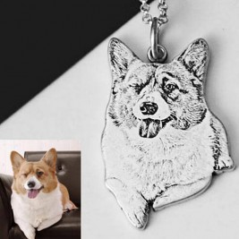 Personalized Pet Necklace, Personalized Photo Necklace, Engrave Photo Keepsake, Cat and Dog Necklace, Photo Pendant,Pet Memorial Necklace