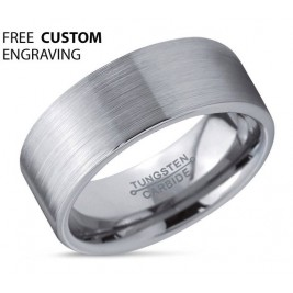 Mens Wedding Band, Tungsten Ring Silver 8mm, Promise Ring, Personalized, Rings for Men, Brushed Tungsten Ring