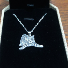 Personalised Pet Silhouette Engraved Necklace Solid Silver