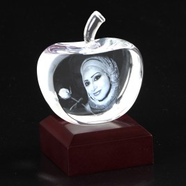 Apple Shape Crystal With 2D/3D Engraving Inside