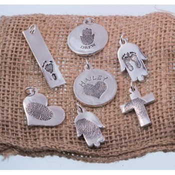 Personalized FingerPrint Sterling Silver Charm Necklace