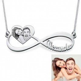 Sterling Silver Custom Photo Engraved Infinity Necklace