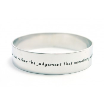 Personalised 15mm Wide Endless Bangle - Silver