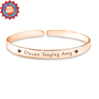 Personalised 8mm Endless Bangle - 18ct Rose Gold