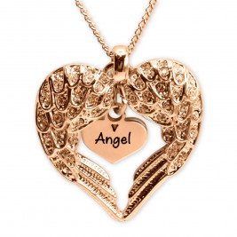 Personalised Angels Heart Necklace with Heart Insert - 18ct Rose Gold