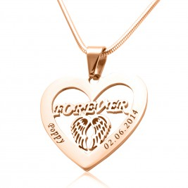 Personalised Angel in My Heart Necklace - 18ct Rose Gold Plated