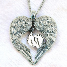 Personalised Angels Heart Necklace with Feet Insert