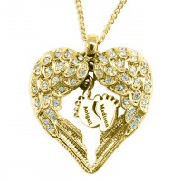 Personalised Angels Heart Necklace with Feet Insert - GOLD