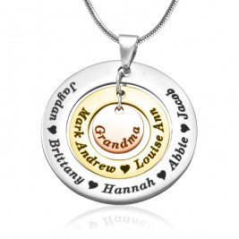 Personalised Circles of Love Necklace - Three Tone - Rose Gold Silver