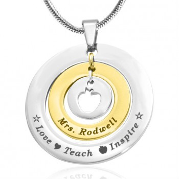 Personalised Circles of Love Necklace Teacher - TWO TONE - Gold  Silver